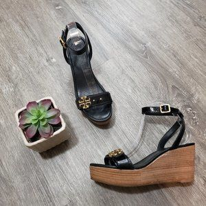Tory Burch Elina Black Patent Leather Platform Wedge Sandals Sz 8.5